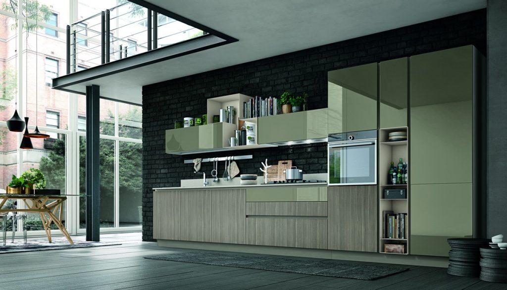 Cucina Stosa: vetro e legno