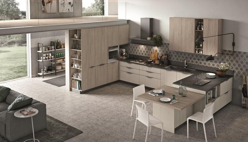 cucina con penisola modello infinity